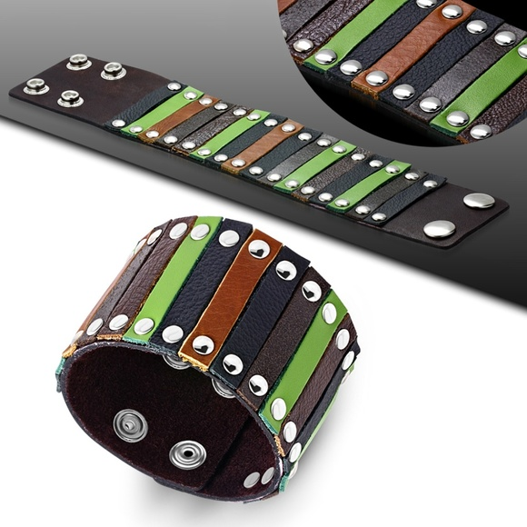Jewelry - Genuine Multi Color Leather Stripped Studded Snap